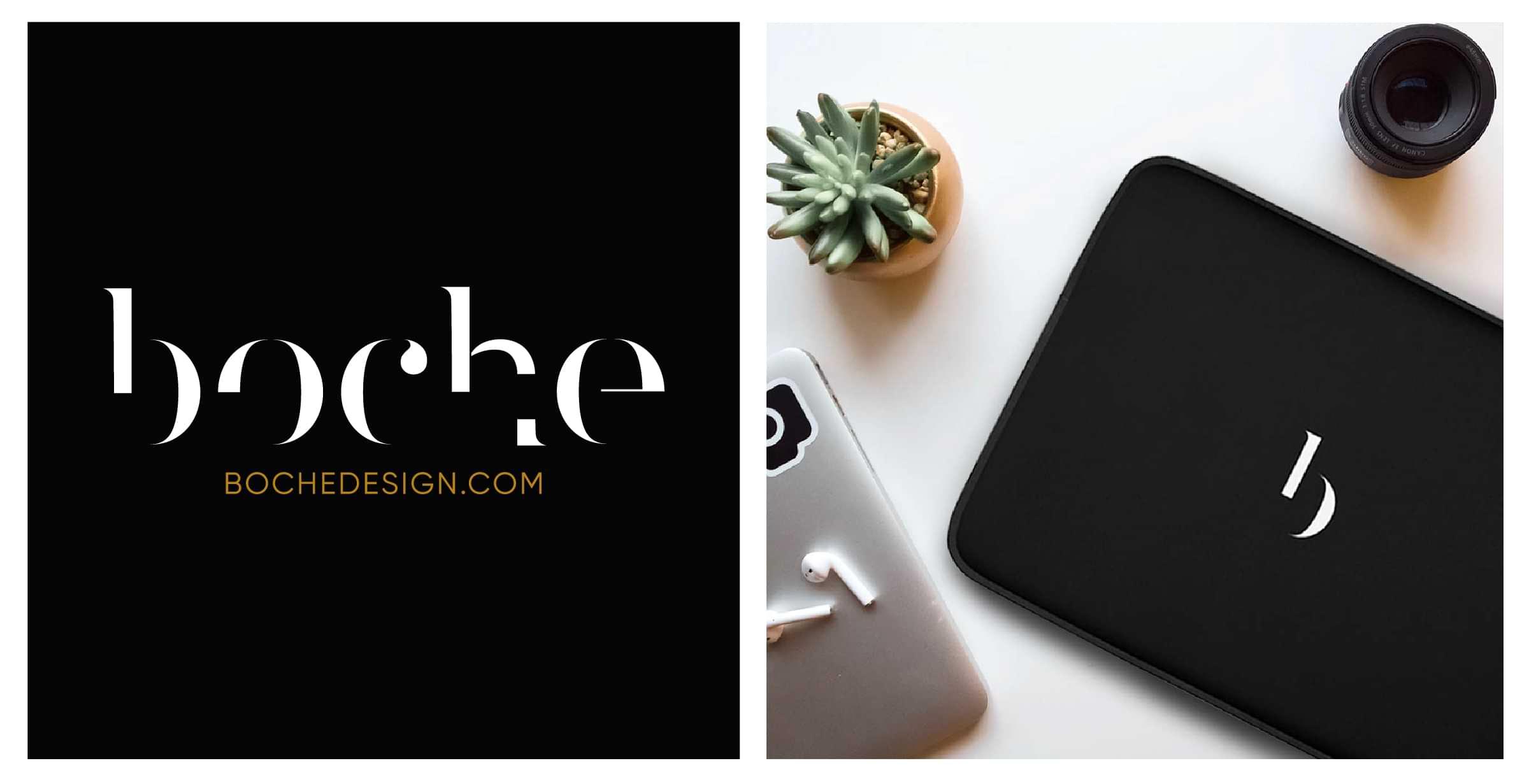 Shopify e-Commerce Website Development Branding Boche Design Logo boche design laptop sleeve
